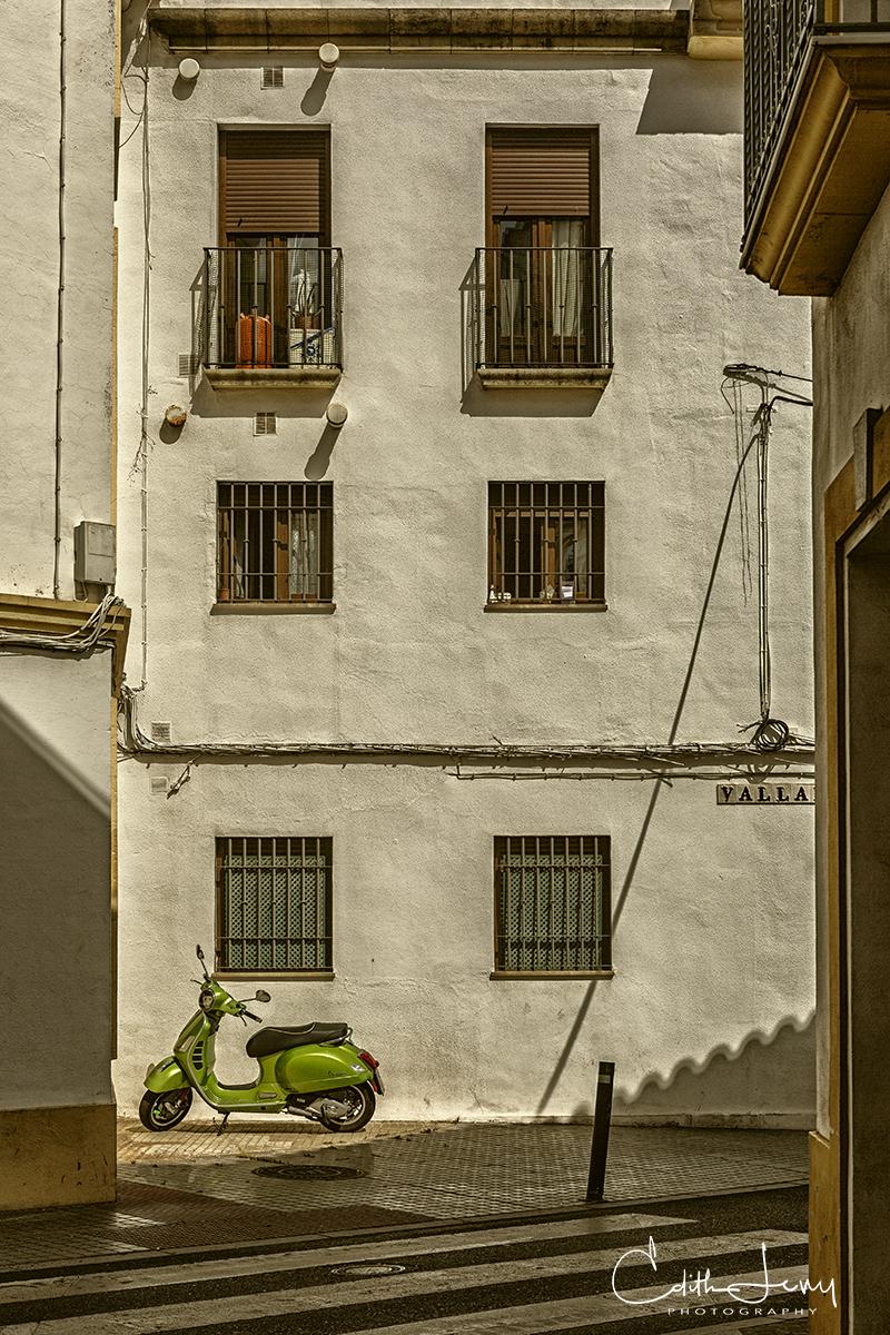 Cordoba, Spain, green, vespa