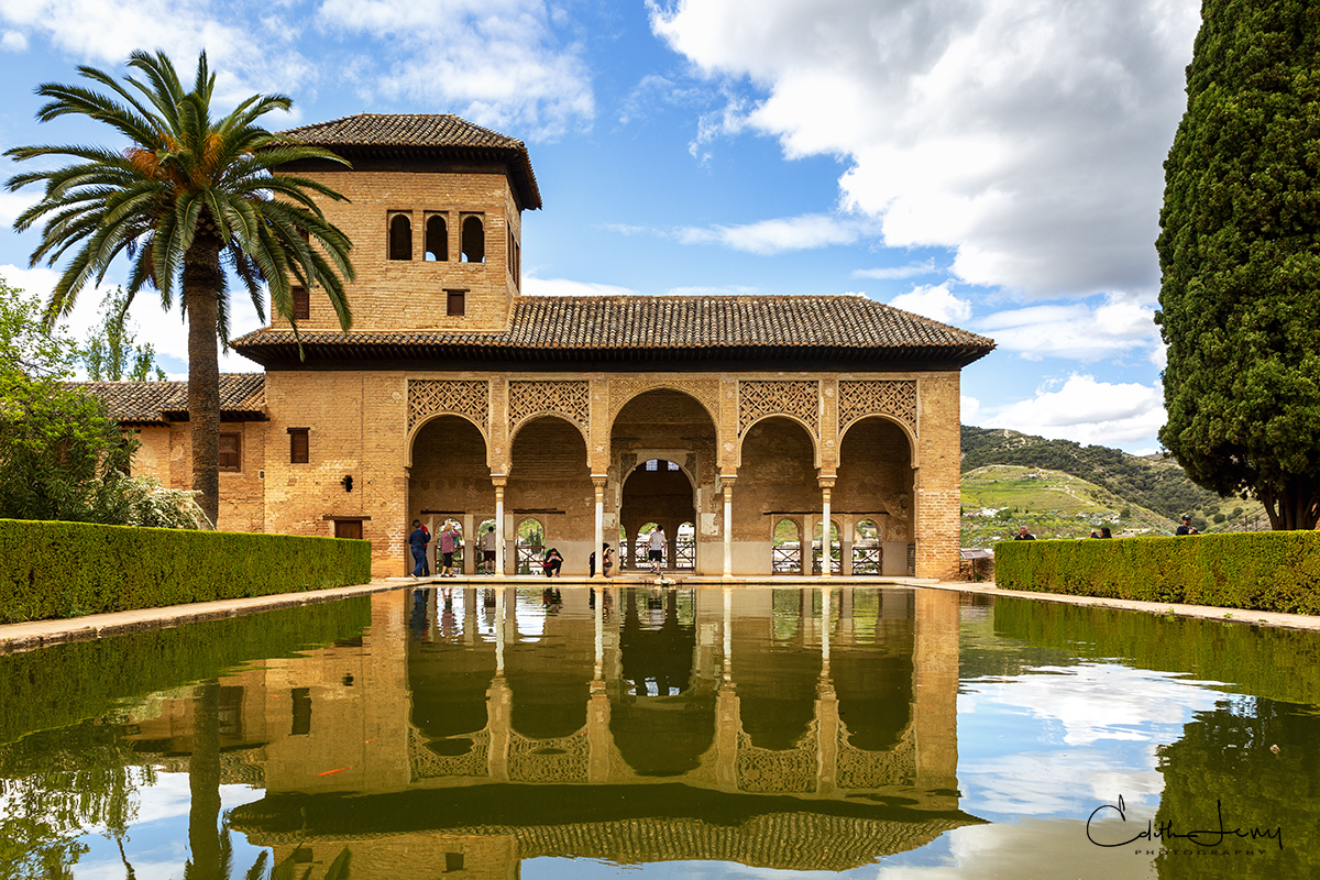 Alhambra, Granada, Spain, palace, fortress, reflecting pool, mirror, photo