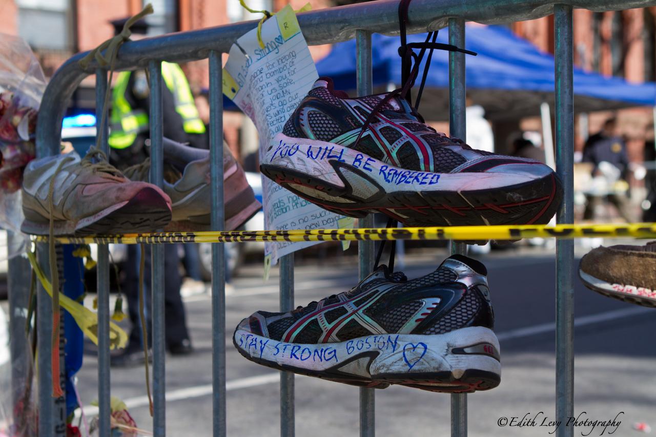 Boston, Massachusetts, strong, street photography, Boston strong, marathon, running shoes, memorial