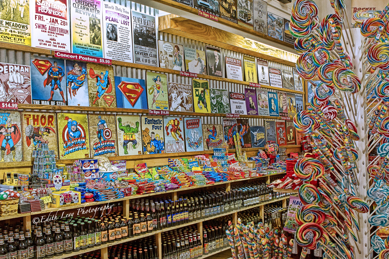 Los Angeles, California, Super Hero Hall of Fame, candy store, comics, photo