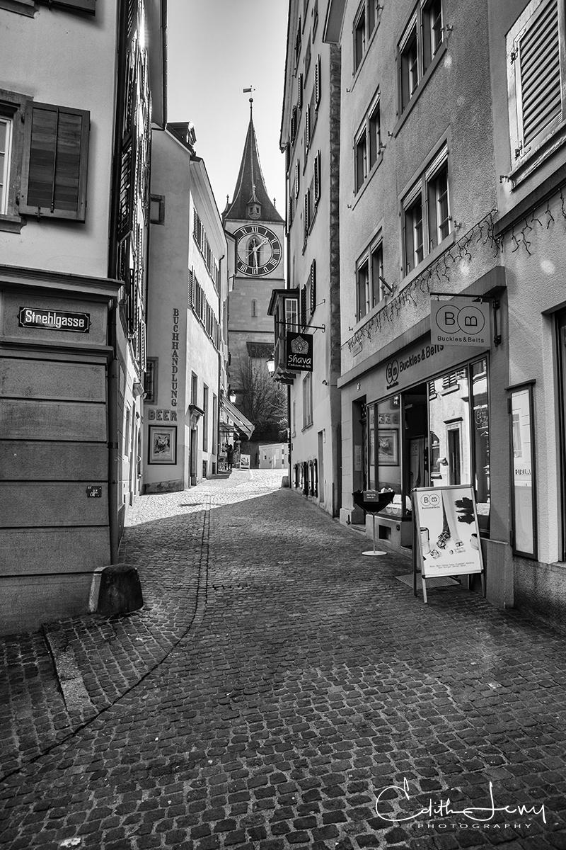 Zurich, Switzerland, clock tower, black and white, town square, cobblestone