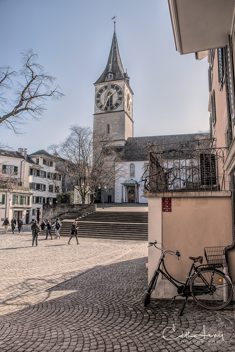 Zurich, Switzerland, clock tower, town square, cobblestone, bicycle