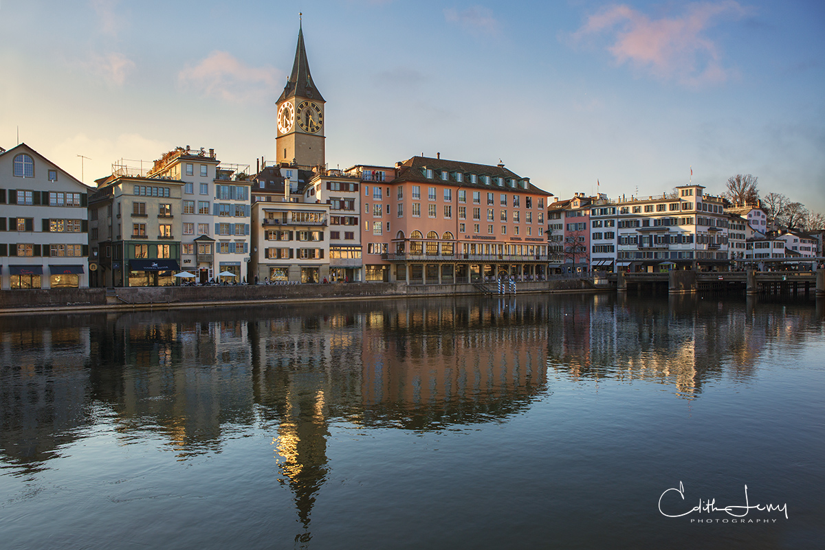 Limited Edition of 50 Walking along the banks of the Limmat river is a great way to see the old town in Zurich. The guild houses...