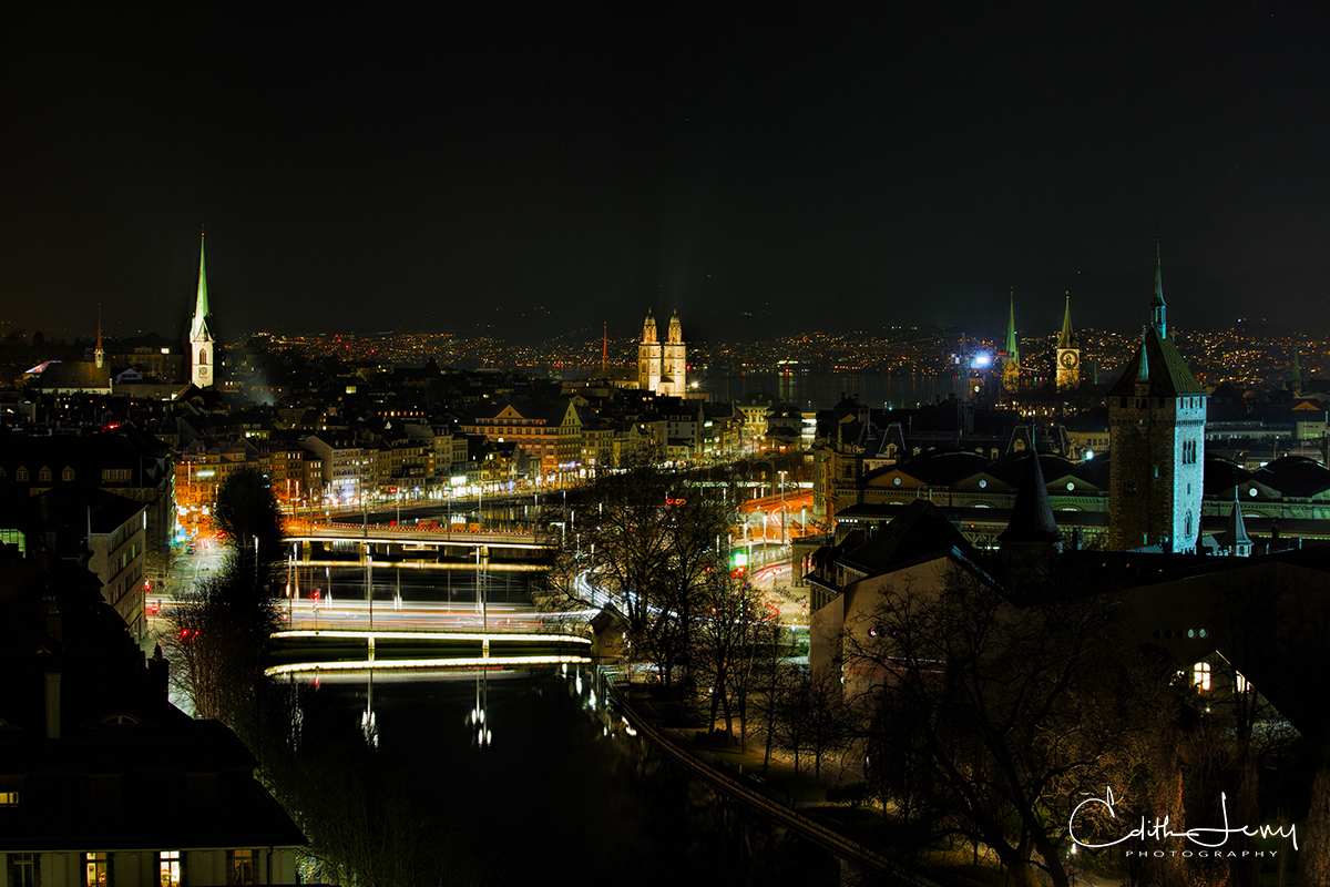 At night in Zurich looking across the Limmat River.