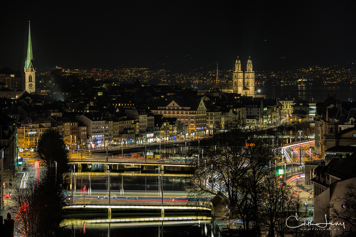 Zurich, Switzerland, Limmat river, night, photo
