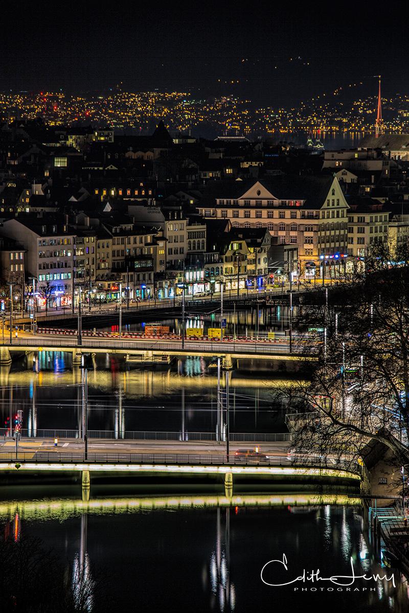 Zurich, Switzerland, Limmat river, night, photo