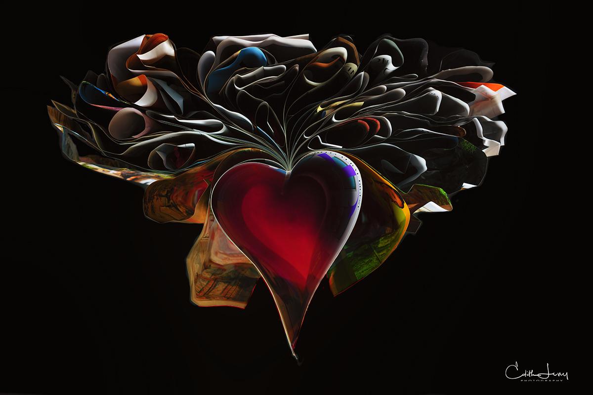 orimeno, book art, fine art photography, magazine, Architectural Digest, folded art, paper art, heart, black