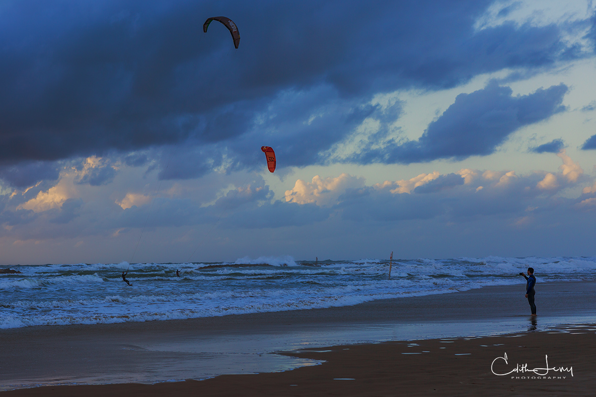 Limited Edition of 50 As night descends the last of the wind surfers get ready to come back to shore. The sea never sleeps and...